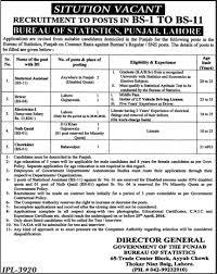 statistics bureau bureau of statistics punjab 2016 april statistical assistants