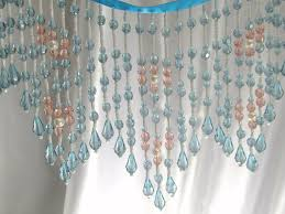 blue turquoise peach coral and white pearl luster long beaded
