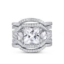 wedding rings set vintage princess cut white sapphire 925 sterling silver wedding