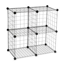 Stackable Wire Shelves by Essential Home 4 Cube Wire Storage Unit Set