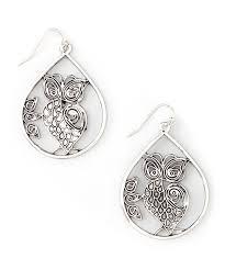 zad earrings zad silvertone owl teardrop earrings owl ear rings and ring