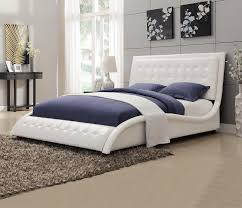 Tully White Leather Wave Shaped Queen Bed - White leather queen bedroom set