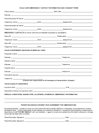 child care emergency contact form 2 free templates in pdf word