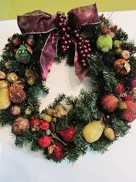homespun with beaded fruit wreath