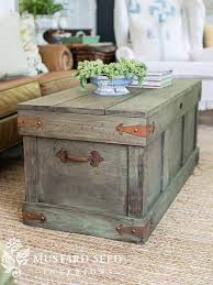 perfectly primitive distressed barnwood trunk table