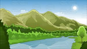 mountain backdrop mountains and river background clipart vector