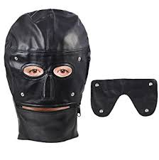 leather mask black zippered pu leather gimp mask sensory