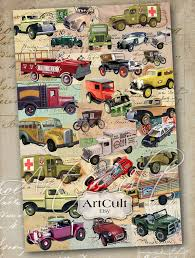 cars wrapping paper wrapping paper digital vitage cars printable collage sheets