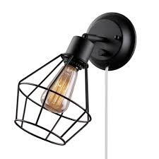 globe electric 1 light black shade plug in wall sconce with clear
