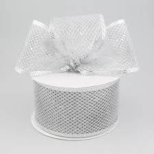 silver glitter ribbon 2 5 diamond mesh glitter ribbon silver 10 yards rl183126