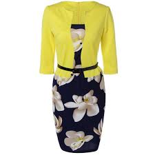 floral sheath knee length pencil work dress in yellow 3xl