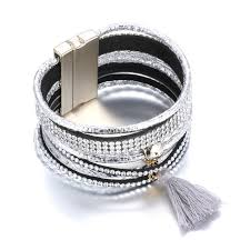 leather bracelet with silver clasp images Buy fashion leather bracelet with magnet clasp jpg