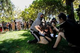 violence by far left protesters in berkeley sparks alarm la times