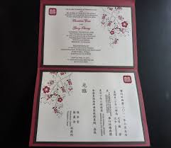filipino wedding invitations inside of invitation english on one side chinese on the other