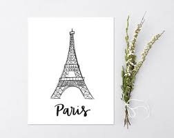 eiffel tower sketch etsy