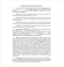 10 separation agreement templates u2013 free sample example format