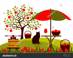 vector fruit press table umbrella apple stock vector 577549621