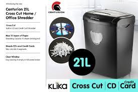Cross Cut Paper Shredders Centurion Office Combo Paper Shredder 21l Cross Cut 10 Sheets Cds