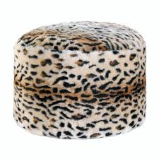 leopard home decor snow leopard fuzzy pouf at all wholesale gifts