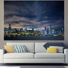 brilliant chicago glow skyline wall graphic zapwalls
