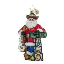 Radko Halloween Ornaments Amazon Com Christopher Radko Howdy Y U0027all Texas Themed Santa Glass