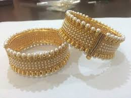gold pearl bangle bracelet images Gold pearl bangle at rs 850 set pearl bangle id 9203597812 jpg