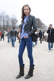 biker type boots model street style karlie kloss does casual biker chic the