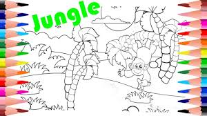 painting monkey in jungle learn to color monkey in coloring pages