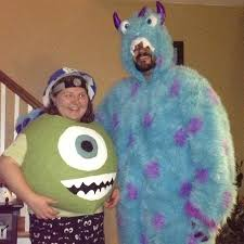 mike and sully homemade costume on the left for wazowski and