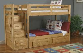bedroom cheap wood full size bunk bed with steps and plenty