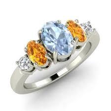 citrine engagement rings wilqa ring with oval aquamarine citrine i diamond 1 36 carat