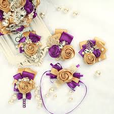 gold boutonniere 2pces handmade gold purple wedding corsages and boutonnieres silk