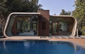 Pool Houses And Cabanas Curved Concrete Cabanas Modern Pool House
