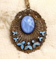 leaf pattern necklace max neiger czech enamel dot leaf pattern star sapphire brass