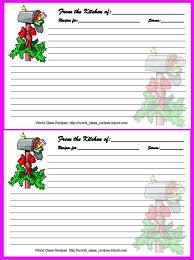 christmas printable recipe cards