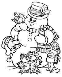 large snowman coloring page the snowman and friends celebrating christmas on christmas coloring