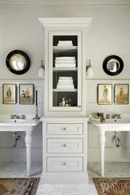 Pedestal Cabinets Double Pedestal Sinks With Tall Cabinet In Between For Storage
