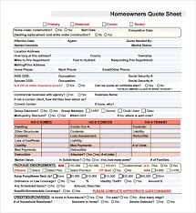 sample quote sheet