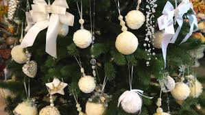 Off White Christmas Decorations by Close Up Of Silver Christmas Decorations Isolated On White Wall