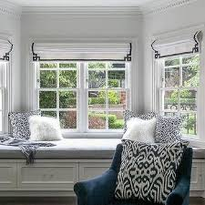 Key Bench Window Seat With Navy Blue And White Accents Grant K Gibson