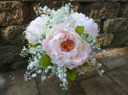 of the valley bouquet peony lilies of the valley artificial bridal bouquet blush