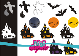 haunted house silhouette clipart 68
