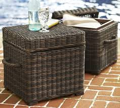 Wicker Accent Table Torrey All Weather Wicker Accent Cube Espresso Pottery Barn