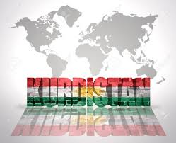 Kurdish Flag Word Kurdistan With Kurdish Flag On A World Map Background Stock