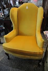 Velvet Wingback Chair Pair Of Vintage Yellow Velvet Wingback Chair From Miss Pixies Attic