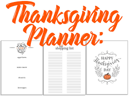 thanksgiving planner menu shopping list and decorative printable