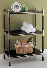 Bathroom Shelving Unit by Glass Bath Shelf And Wood Bath Shelves Organize It