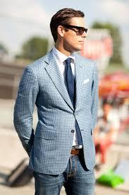 light blue jacket mens how to wear a light blue gingham blazer 4 looks men s fashion