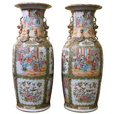 Chinese Hand Painted Porcelain Vases Pair Of Large Chinese Rose Canton Vases At 1stdibs