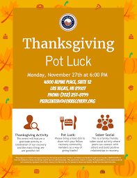 thanksgiving pot luck on november 27th foundation for recovery